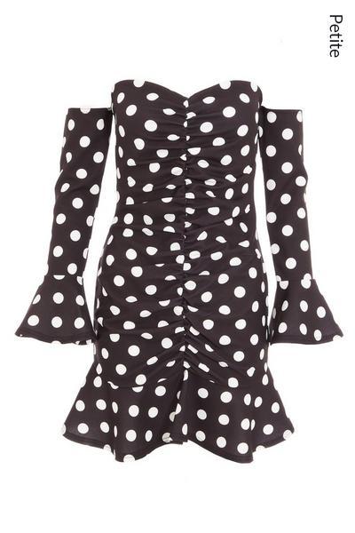 Petite Black Polka Dot Bardot Long Sleeve Dress